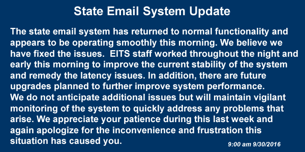 The State Email System Update